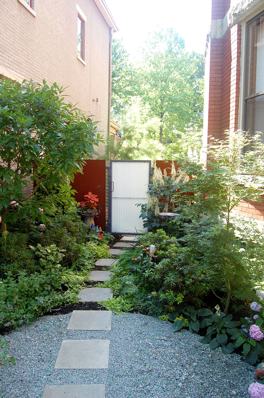 City garden inspired by eclectic style of home