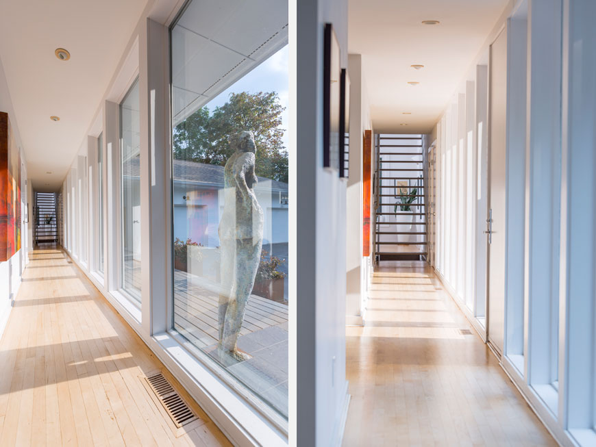 Art in hallways of home designed by Kepes Architecture