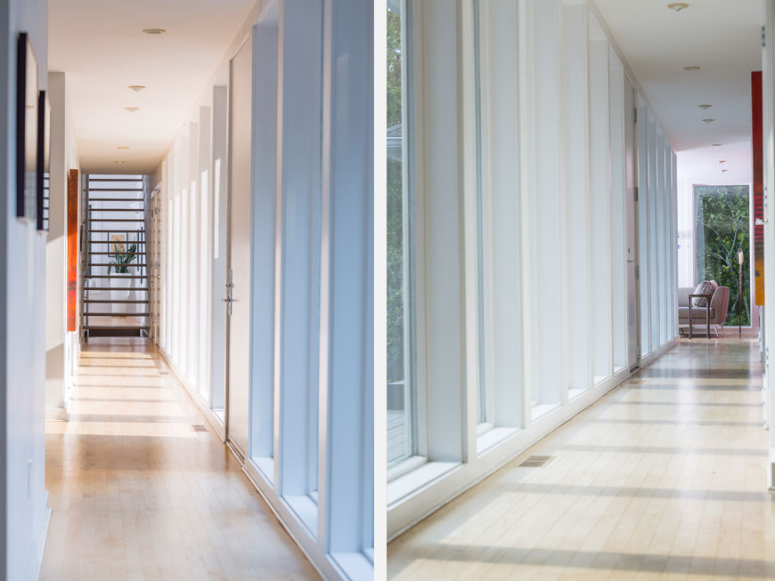 Views of modern hallways designed by Kepes Architecture