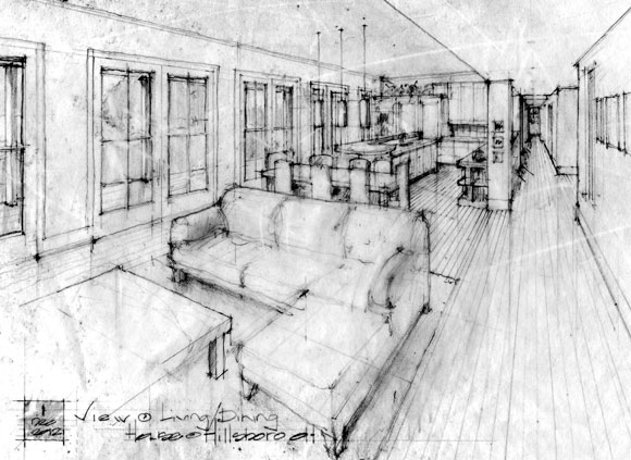 Drawing of living space by Kepes Architecture