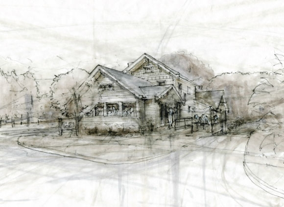 Architectural drawing by Chris Kepes