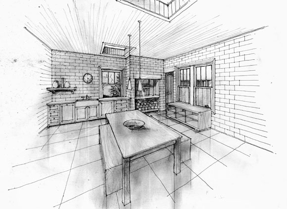 Interior sketches, architecture, modern