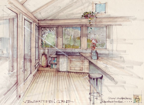 Architectural sketch of living space