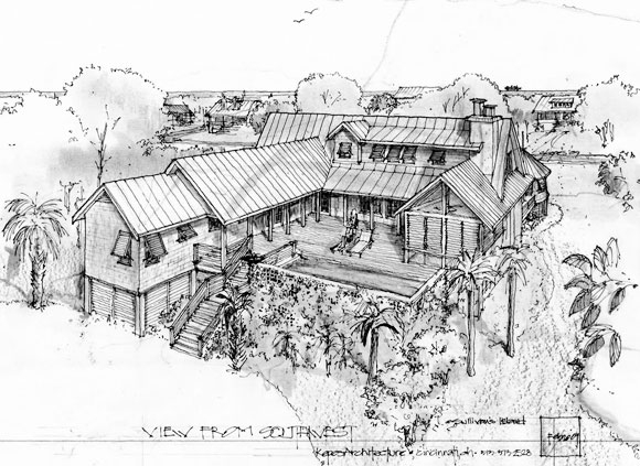 Sketches, architectural drawing, exterior facade